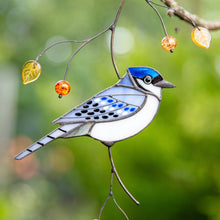 Load image into Gallery viewer, Blue jay bird made of stained glass suncatcher
