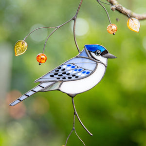 Blue jay bird made of stained glass suncatcher