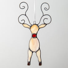 Load image into Gallery viewer, Stained glass reindeer window hanging for Christmas decor