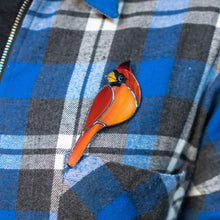 Load image into Gallery viewer, Stained glass redbird brooch accessory