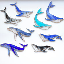 Load image into Gallery viewer, All possible variants of stained glass whales window hangings