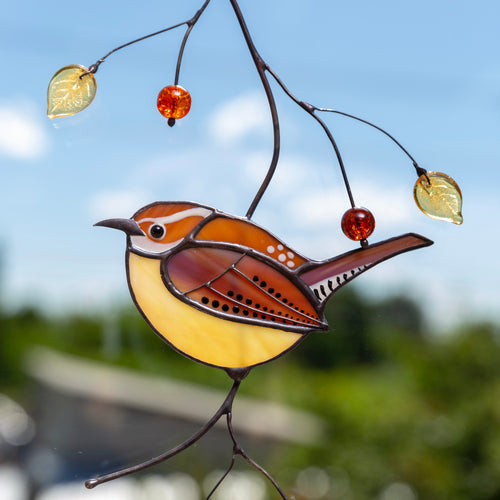 Zoomed stained glass Carolina Wren window hanging