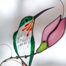 Load image into Gallery viewer, Zoomed stained glass hummingbird with pink flower window hanging