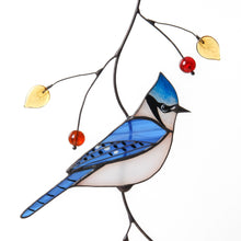 Load image into Gallery viewer, Stained glass blue jay with top knot sitting on the branch window hanging
