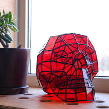 Load image into Gallery viewer, Red-coloured stained glass 3D human skull for Halloween celebrations