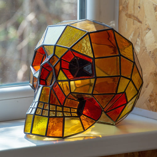 Ironman-coloured Halloween stained glass 3D human skull