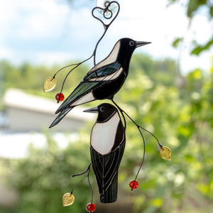 2 stained glass Australian magpies one below and one above suncatchers