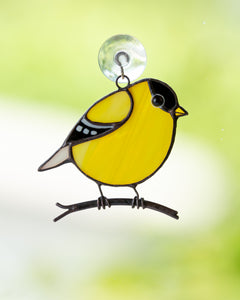American goldfinch stained glass bird suncatcher