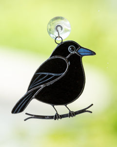 small black crow stained glass bird suncatcher