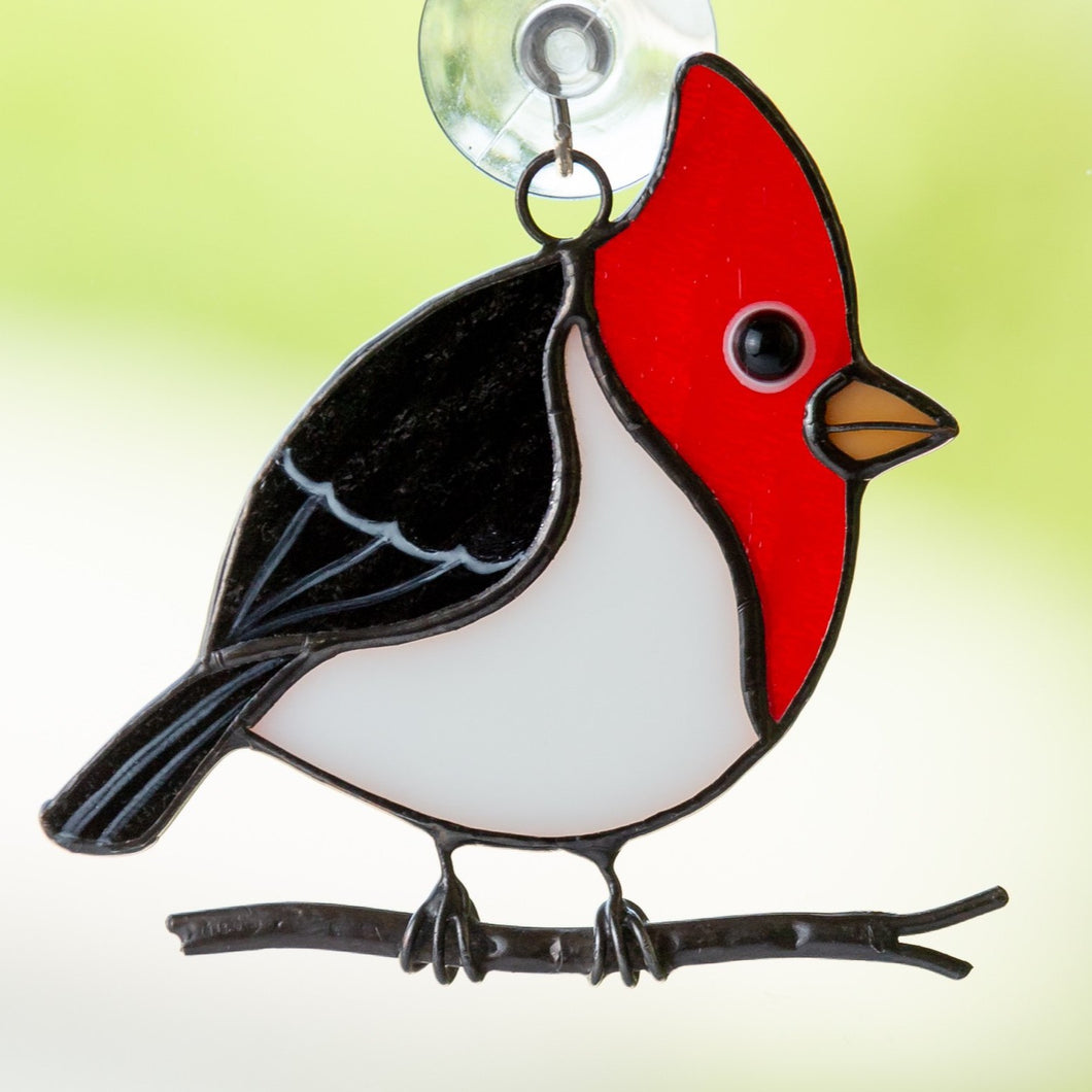 pileated woodpecker stained glass suncatcher