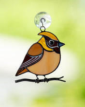 Load image into Gallery viewer, Cedar waxwing stained glass suncatcher