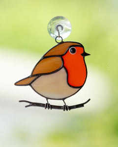 Robin bird stained glass bird suncatcher