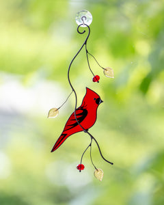 Handcrafted cardinal stained glass window decor