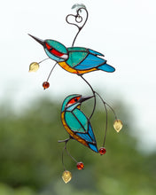 Load image into Gallery viewer, Two bright kingfishers on the wire branch made of stained glass