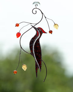 Pileated woodpecker on the branch stained glass suncatcher
