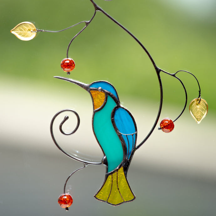 Stained glass suncatcher - bright hummingbird gift