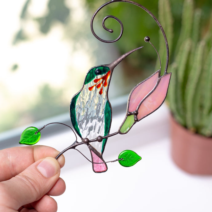 hummingbird with tender pink flower stained glass suncatcher