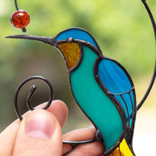 Load image into Gallery viewer, Zoomed stained glass hummingbird suncatcher