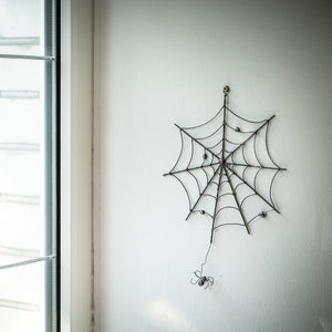 Round Halloween spider web horror wall hanging