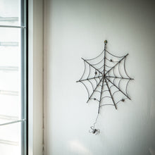 Load image into Gallery viewer, Creepy round spider web for Halloween decorations as a wall hanging