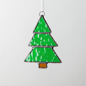 Stained glass Christmas tree window hanging