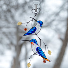 Load image into Gallery viewer, Stained glass blue hummingbirds on the branch window hanging