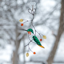 Load image into Gallery viewer, Stained glass male green hummingbird sitting on the branch suncatcher