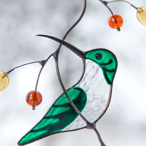 Zoomed stained glass female hummingbird