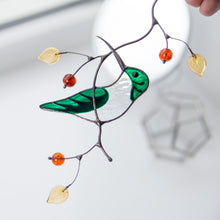 Load image into Gallery viewer, Stained glass green female hummingbird on the branch suncatcher