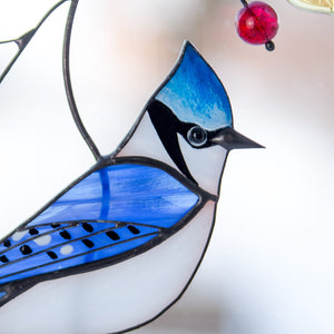 Zoomed stained glass blue jay suncatcher