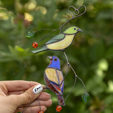 Load image into Gallery viewer, Stained glass bunting birds window hanging