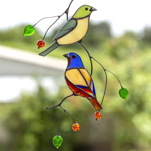 Stained glass pair of bunting birds suncatcher