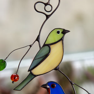 Zoomed stained glass upper bunting bird suncatcher