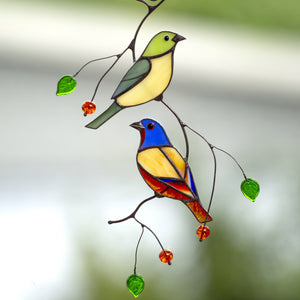 A pair of stained glass bunting birds sitting on the branch suncatcher