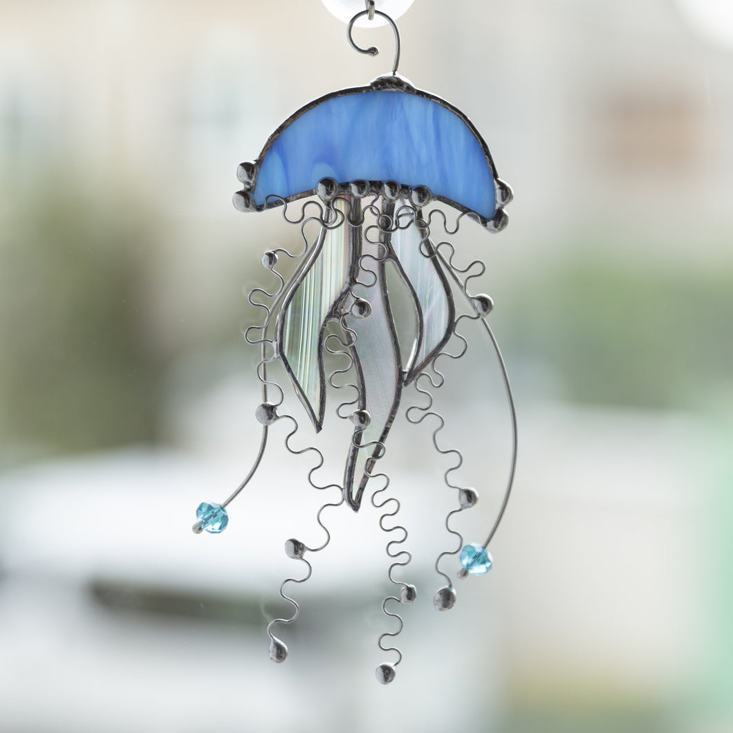 Stained glass blue with iridescent tentacles jellyfish window hanging