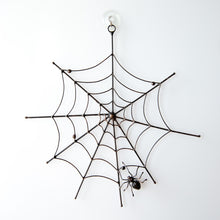 Load image into Gallery viewer, Copper wire Halloween round web with a spider in the lower part creepy decor
