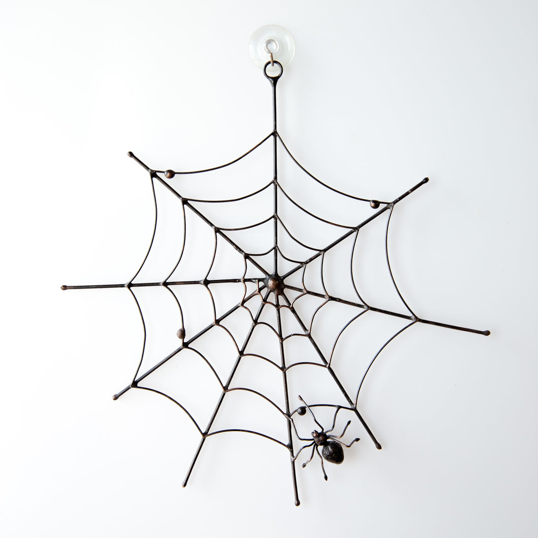 Copper wire Halloween round web with a spider in the lower part creepy decor