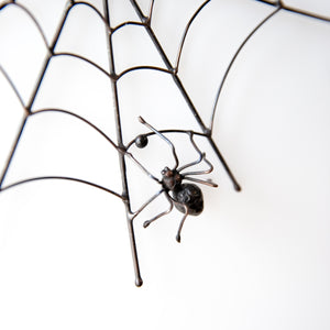Spider on a web Halloween copper wire window hanging