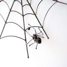 Load image into Gallery viewer, Spider on a round spider web window hanging