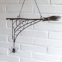 Load image into Gallery viewer, Copper wire Halloween broom with a web spider ghastly decoration