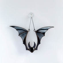 Load image into Gallery viewer, Black stained glass bat window hanging