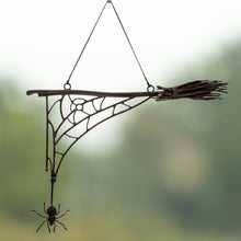 Load image into Gallery viewer, Halloween spider web with the broom window hanging