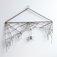 Load image into Gallery viewer, Copper wire Rectangular spider web with a spider in the middle Halloween spooky decor