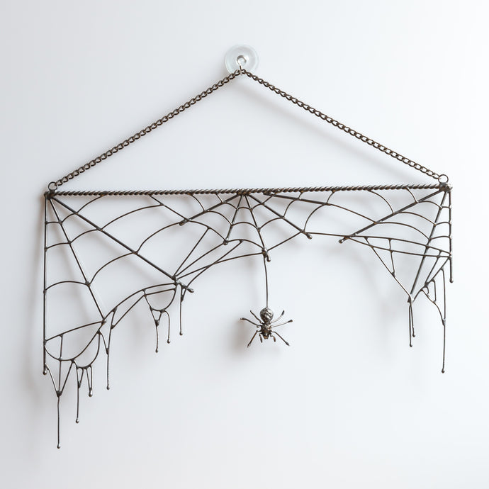 Copper wire Rectangular spider web with a spider in the middle Halloween spooky decor