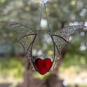 Stained glass red heart with iridescent wings window hanging