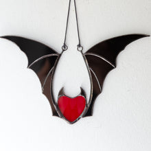 Load image into Gallery viewer, Red stained glass vampire heart with black wings Halloween creepy window hanging