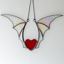 Load image into Gallery viewer, Red stained glass heart wit iridescent wings for Halloween celebration