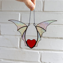 Load image into Gallery viewer, Halloween stained glass heart with iridescent wings window hanging