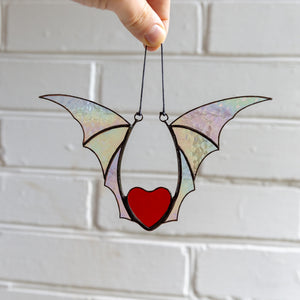 Halloween stained glass heart with iridescent wings window hanging