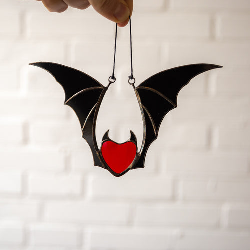 Vampire stained glass red heart wit black wings Halloween suncatcher